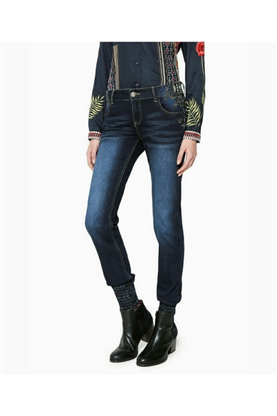 džínsy Desigual Brownie denim dark blue