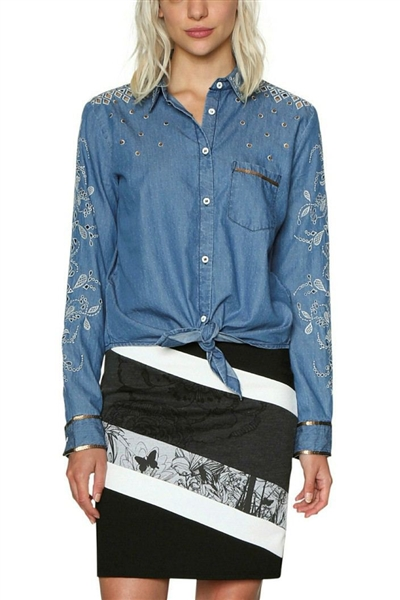 košeľa Desigual Laila denim medium light