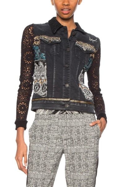 bunda Desigual Rachele denim black wash