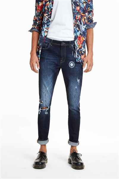 džínsy Desigual Chase denim dark blue