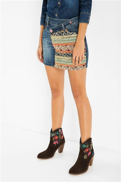 sukňa Desigual Ethnic denim medium wa