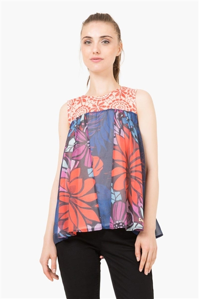 blúzka Desigual Blus Top Pleats Rep navy